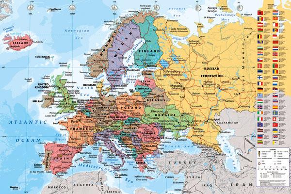 Poster Politisk karta över Europa - Politiska Europakarta