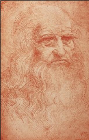 Portrait of a man in red chalk - self-portrait Kunstdruk