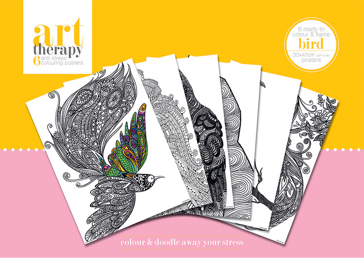 Posters para colorear Art Therapy - Bird