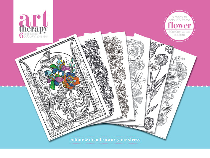 Posters para colorear Art Therapy - Flower