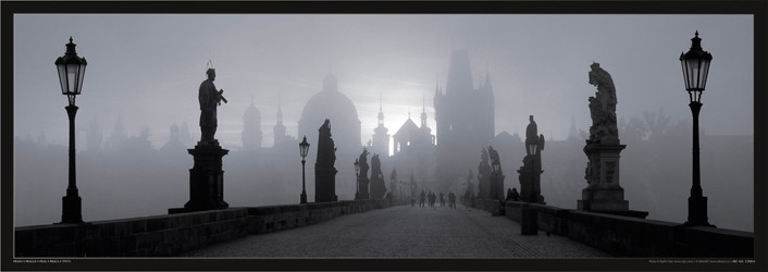 Poster Prague – Charles bridge / b&w