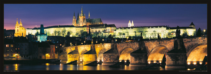 Prague – Prague castle & Charles bridge at night Poster