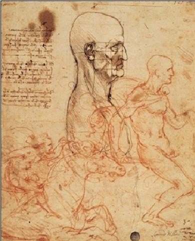 Profile of a man and study of two riders Kunstdruk