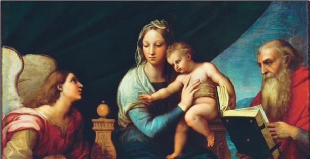 Raphael Sanzio - Madonna of the Fish - Madonna with the Fish, 1514 (part) Kunstdruk