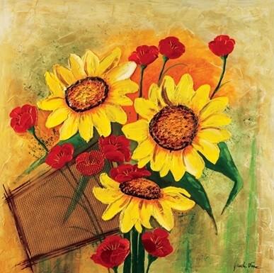 Sunflowers and Poppies Kunstdruk
