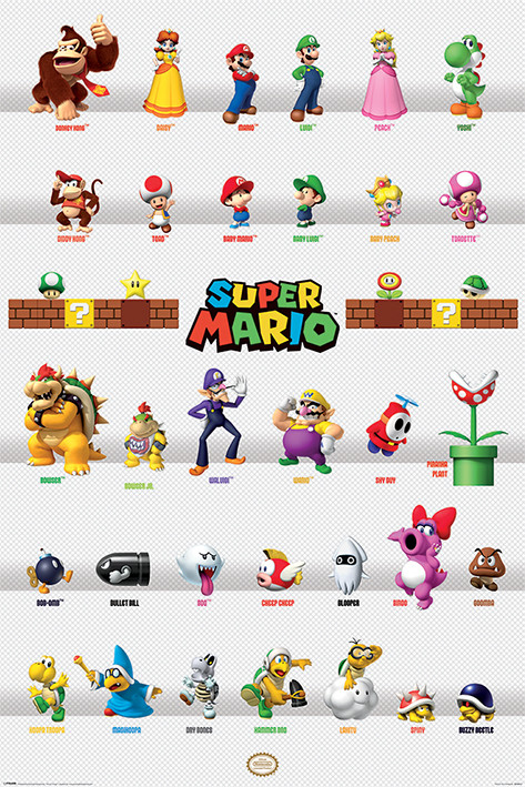 Póster  Super Mario - Character Parade