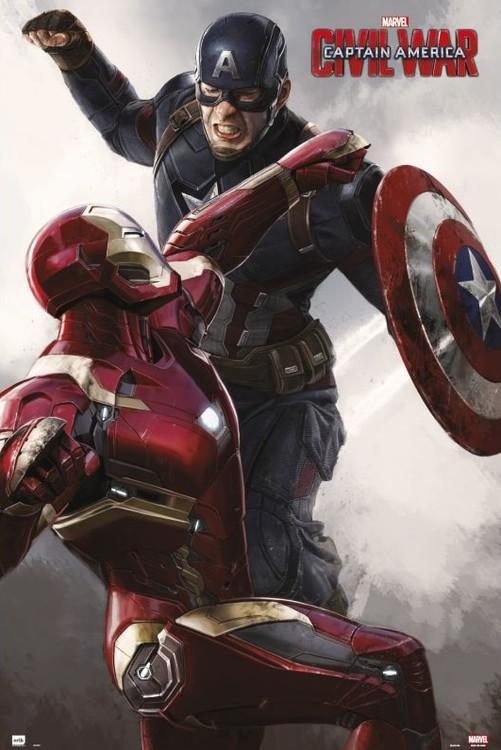 Poster The First Avenger: Civil War - Cap VS Iron Man