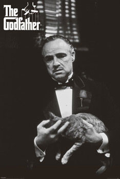The Godfather - cat (Zwart Wit) Poster