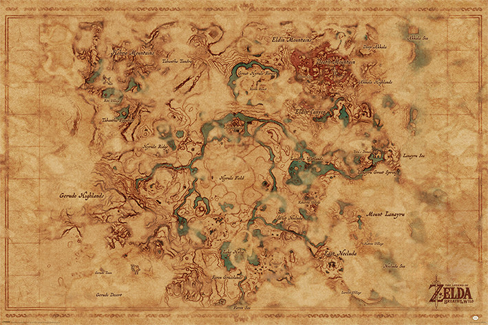 The Legend Of Zelda Breath Of The Wild Hyrule World Map Poster Plakat 3 1 Gratis Bei Europosters