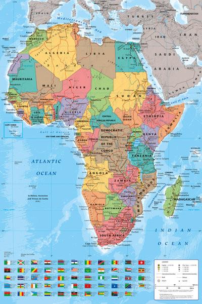 Wandkaart Afrika Politiek - Politieke kaart van Afrika Poster