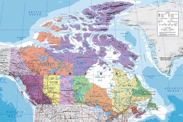 Wandkaart - landkaart Canada, Politiek Poster