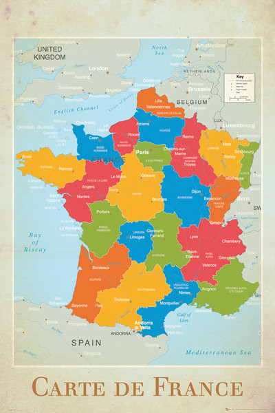 Wandkaart - landkaart Frankrijk, Politiek Poster