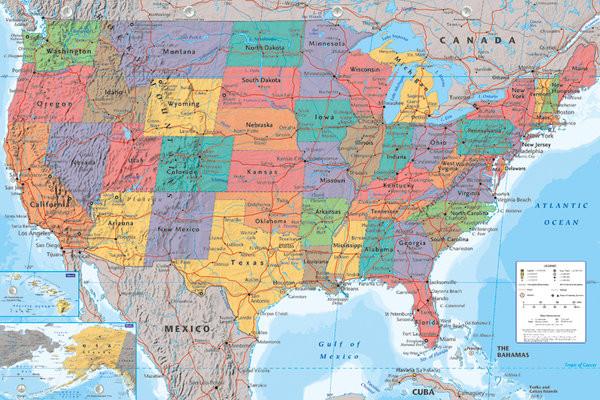 Wandkaart Verenigde Staten, politiek Poster