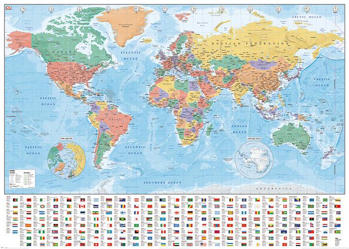 bestel de wereldkaart -flags and facts poster op europosters.nl