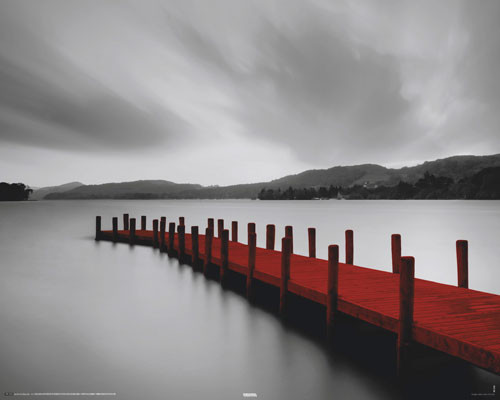 Poster WOODEN LANDING JETTY - red