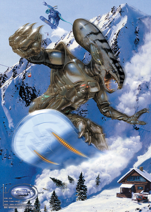 Alien snowboarder Poster