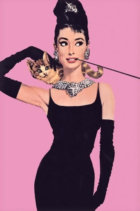 AUDREY HEPBURN - pink Poster