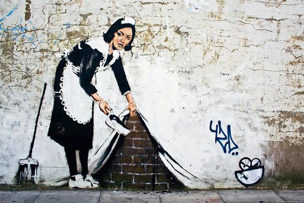 Banksy street art - maid Poster