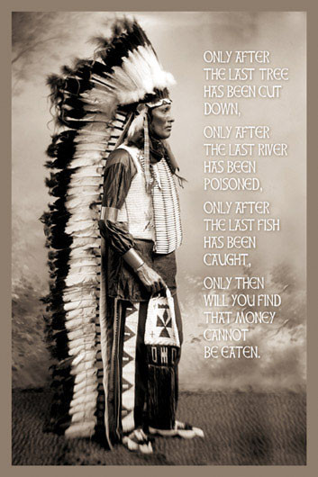 CHIEF WHITE CLOUDS SPEAK Poster