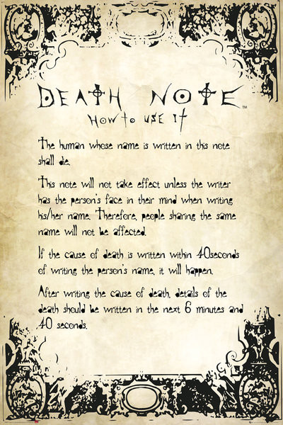 Death Note - Rules Poster