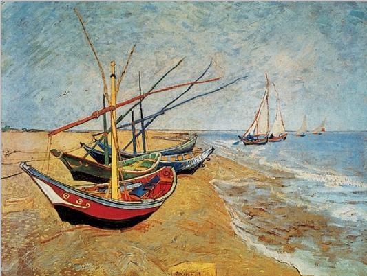 Fishing Boats on the Beach at Saintes-Maries, 1888 Reproducere