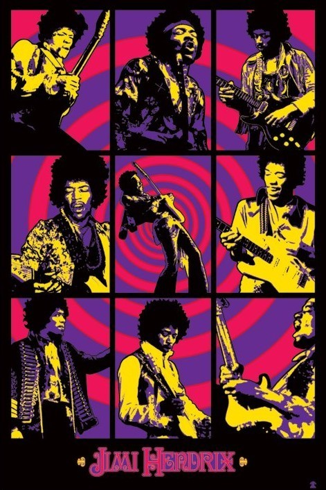 Jimi Hendrix - purple montage Poster