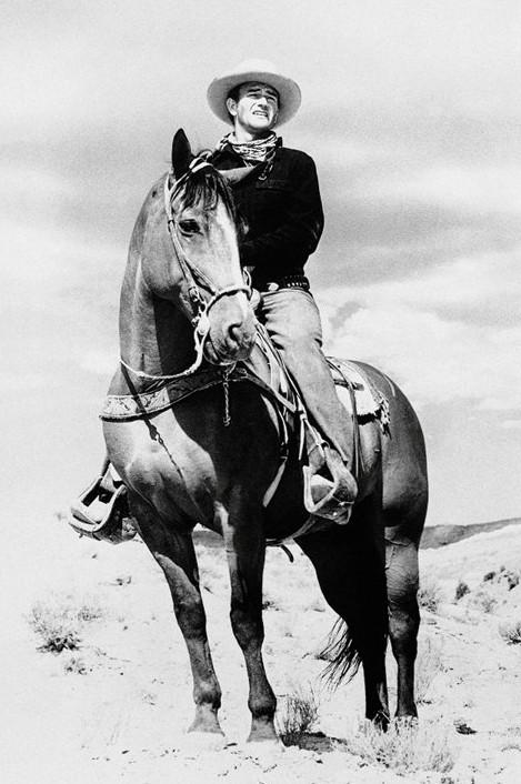 John Wayne - horse Poster
