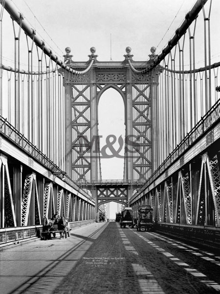 Manhattan Bridge Tower & roadway 1911 Reproducere