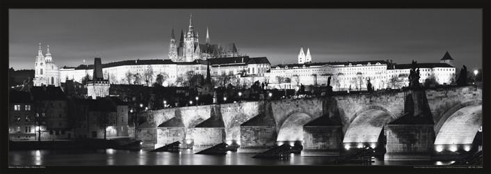 Prague – Prague castle / night b&w Poster