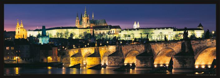Prague – Prague castle & Charles bridge at night Poster