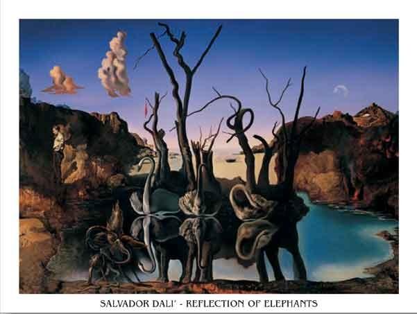 Swans Reflecting Elephants, 1937 Reproducere