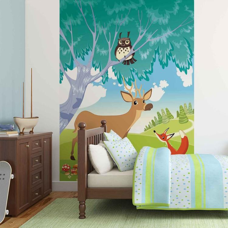 animaux dans la for t poster mural papier peint acheter le sur. Black Bedroom Furniture Sets. Home Design Ideas