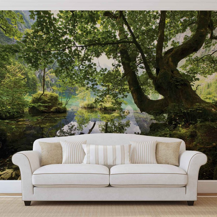 arbre lac nature poster mural papier peint acheter le sur. Black Bedroom Furniture Sets. Home Design Ideas