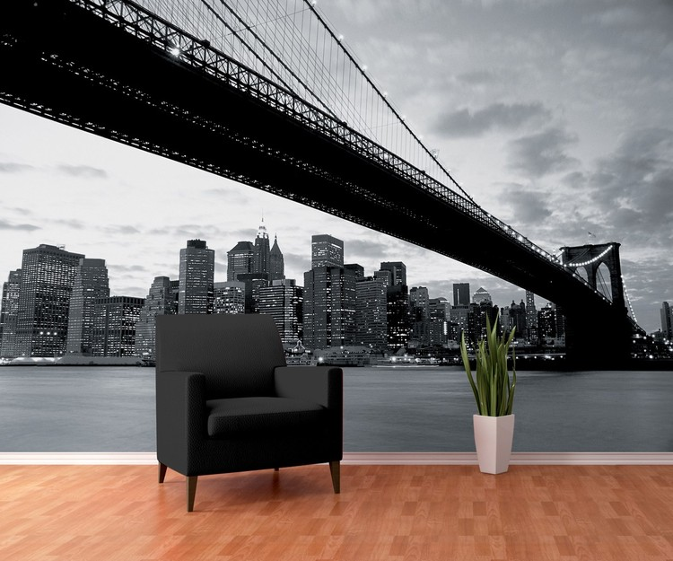 brooklyn bridge new york poster mural papier peint acheter le sur. Black Bedroom Furniture Sets. Home Design Ideas