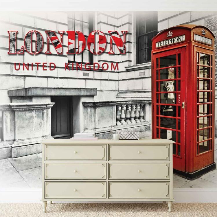 cabine t l phonique de la ville de londres rouge poster mural papier peint acheter le sur. Black Bedroom Furniture Sets. Home Design Ideas