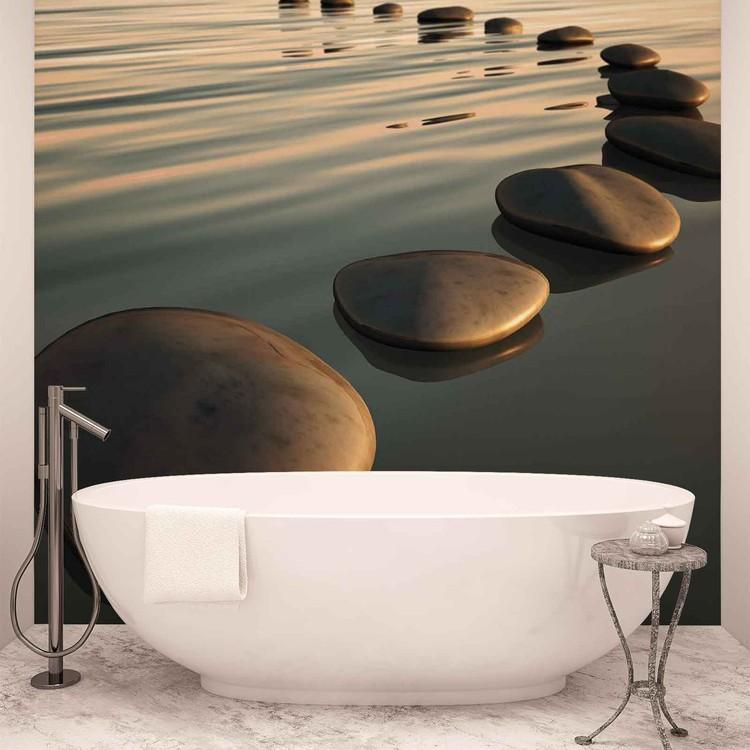 cailloux ondulations zen poster mural papier peint acheter le sur. Black Bedroom Furniture Sets. Home Design Ideas
