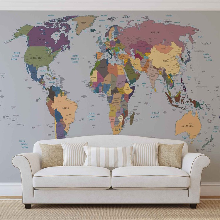 Carte du monde Poster Mural XXL
