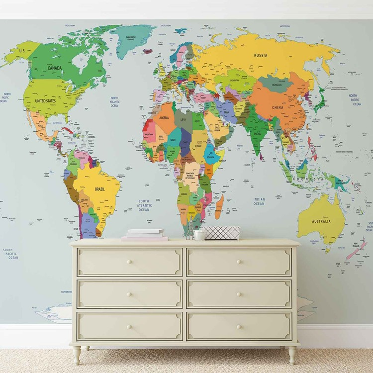 carte du monde poster mural papier peint acheter le sur. Black Bedroom Furniture Sets. Home Design Ideas