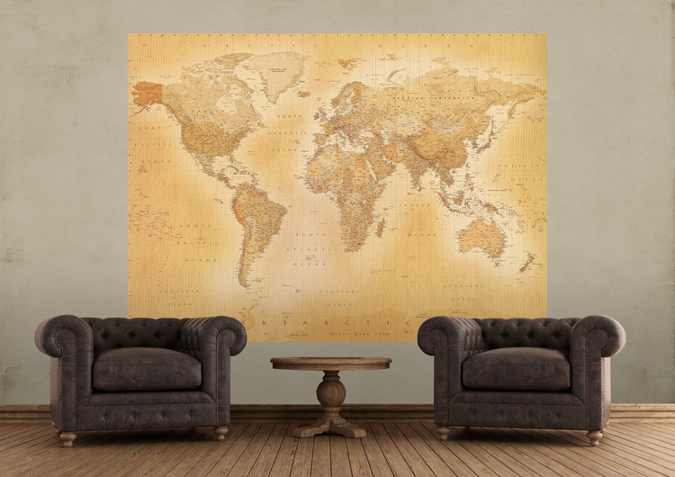 carte du monde antique poster mural papier peint acheter le sur. Black Bedroom Furniture Sets. Home Design Ideas