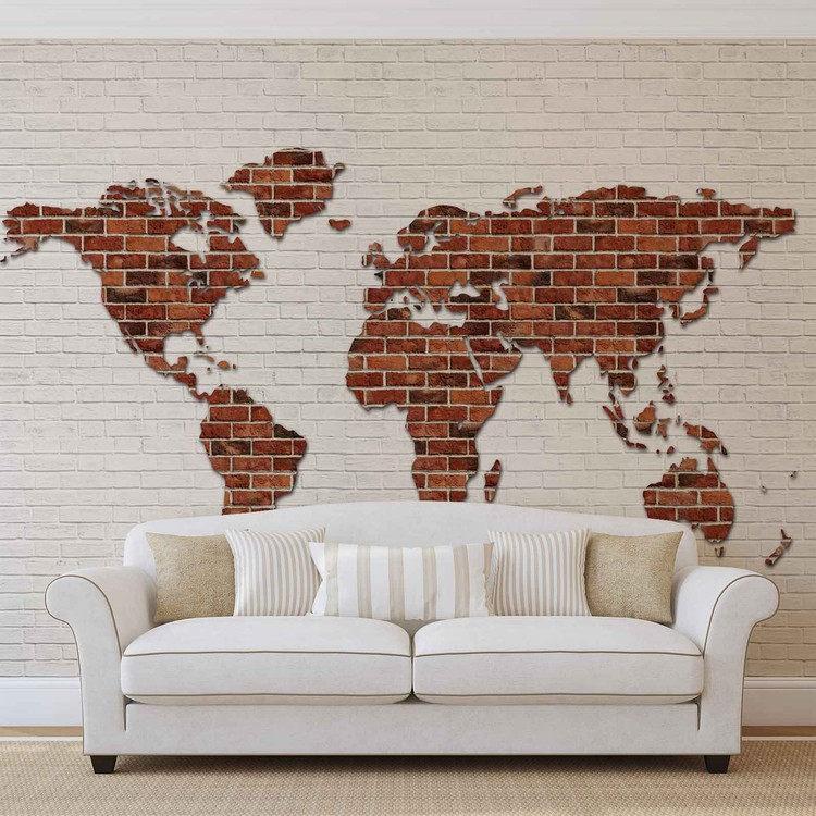carte du monde mur de briques poster mural papier peint acheter le sur. Black Bedroom Furniture Sets. Home Design Ideas