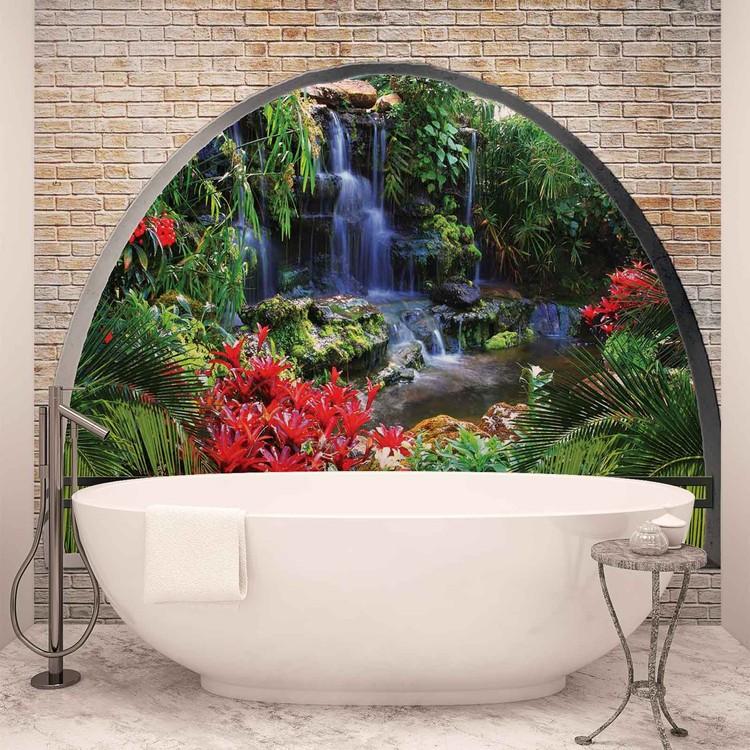cascade lac arche vue poster mural papier peint acheter. Black Bedroom Furniture Sets. Home Design Ideas