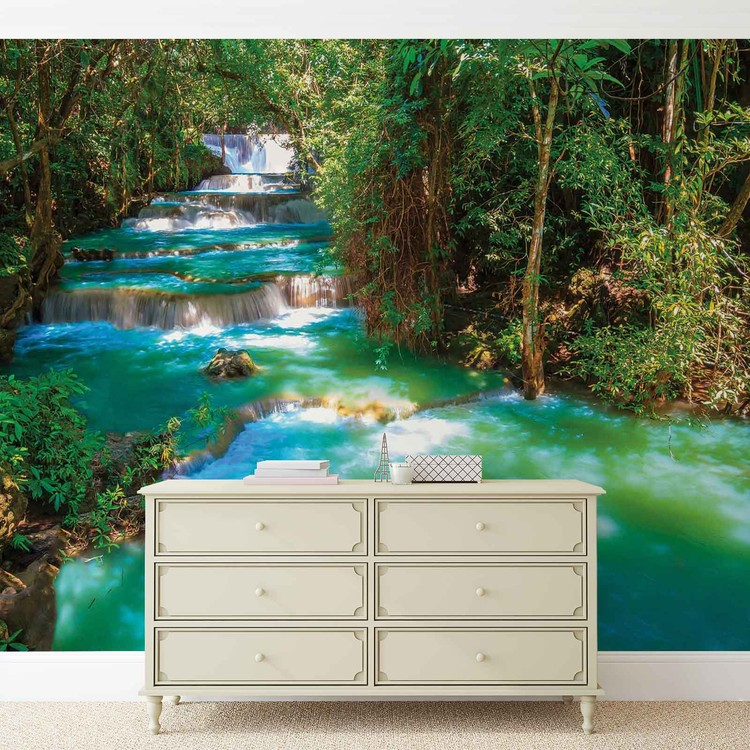 cascades arbres for t nature poster mural papier peint acheter le sur. Black Bedroom Furniture Sets. Home Design Ideas