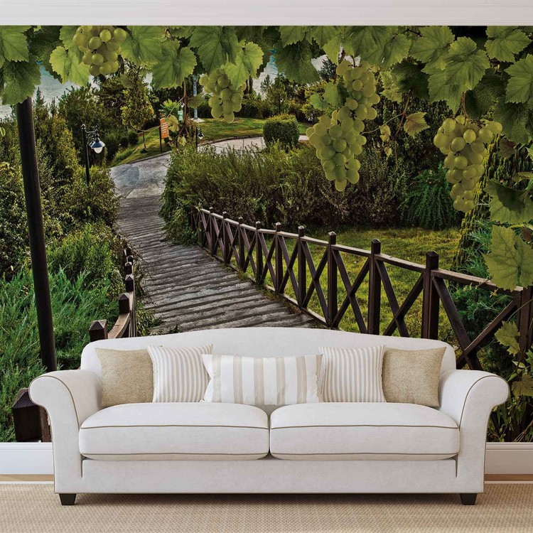 chemin des les vignes nature poster mural papier peint acheter le sur. Black Bedroom Furniture Sets. Home Design Ideas