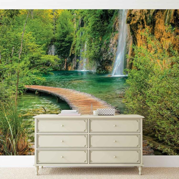 chemin montagne cascades et for t poster mural papier peint acheter le sur. Black Bedroom Furniture Sets. Home Design Ideas