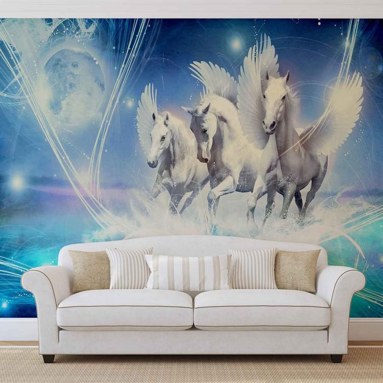 cheval ail pegasus bleu poster mural papier peint acheter le sur. Black Bedroom Furniture Sets. Home Design Ideas