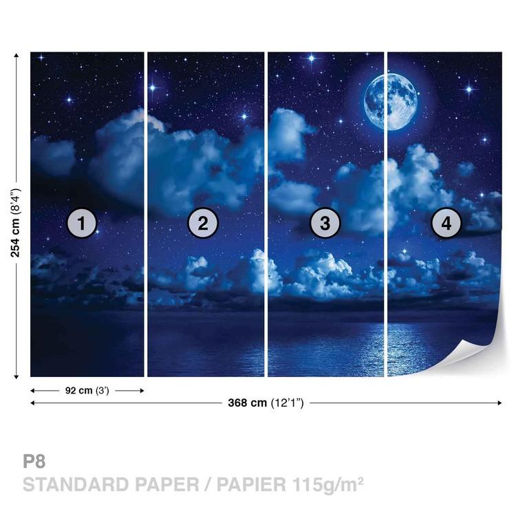 ciel lune nuages toiles nuit mer poster mural papier peint acheter le sur. Black Bedroom Furniture Sets. Home Design Ideas