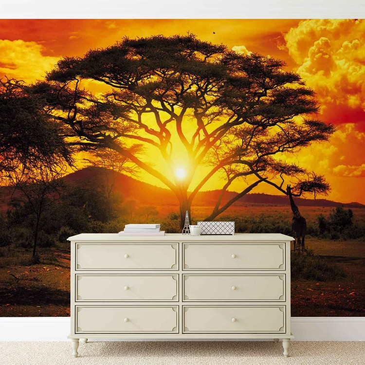coucher de soleil afrique arbre nature poster mural papier peint acheter le sur. Black Bedroom Furniture Sets. Home Design Ideas