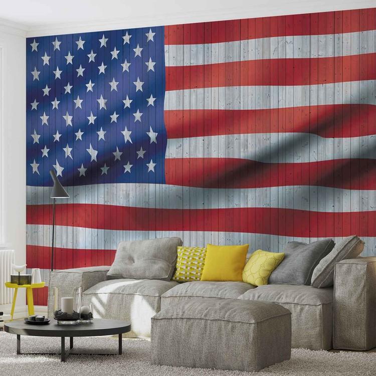 drapeaux am ricain usa poster mural papier peint acheter le sur. Black Bedroom Furniture Sets. Home Design Ideas