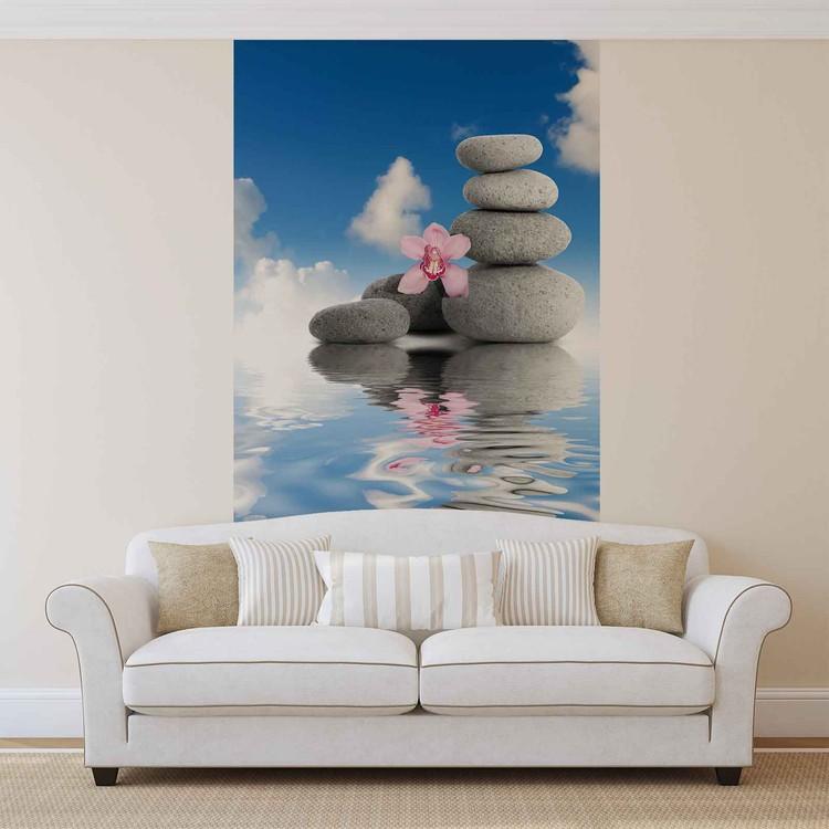 eau zen cailloux orchid es ciel poster mural papier peint acheter le sur. Black Bedroom Furniture Sets. Home Design Ideas