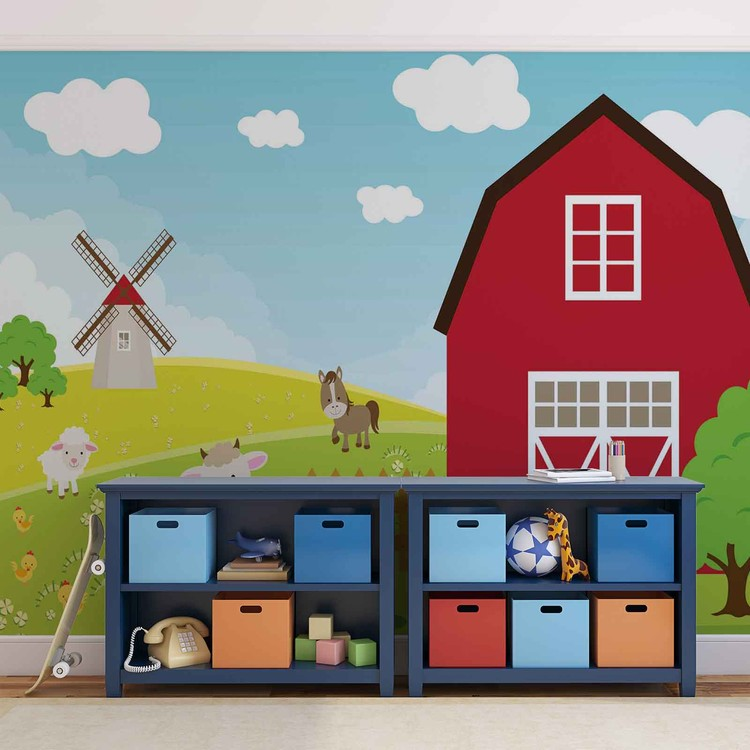 farm cartoon chambres des gar ons poster mural papier peint acheter le sur. Black Bedroom Furniture Sets. Home Design Ideas